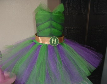 Green and Gold Hulk Costume Tutu Dress