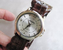 Kessaris Brown Alligator Leather Look Wrist Watch Band - Silver Watch Face
