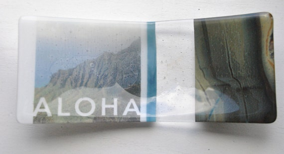 Aloha Kauai Kalalau Lookout Glass Fused Dish/Plate: 5x12 dish/plate with white, clear, blue and brown swirly glass
