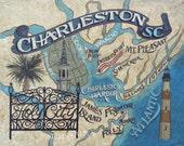 Charleston SC  Map  Print