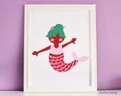 Aloha Baby Mermaid Print Seafoam