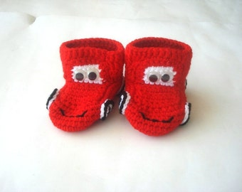 red taxi Cars Baby Booties, baby slippers, newborn shoes, crochet baby booties 0 12 month baby, crochet baby shoes, baby socks