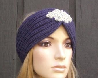 Knit Headband Head Wrap Winter Ear Warmer Purple with Sparkle Bead Applique