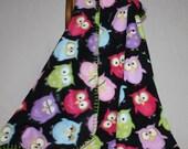 Owl Fleece Baby Blanket / Hand Finished Shower Gift / Item 102