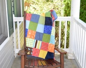 Colorful Crib Quilt- Bright Quilt, Modern Quilt, Colorful Quilt, Orange Quilt, Blue Quilt, Green quilt  and Ready to ship Quilt