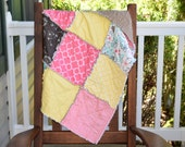 Baby Girl Rag Quilt- Ready to Ship rag Quilt, Pink Rag Quilt, Blue Rag Quilt, Green Rag Quilt, Yellow Rag Quilt, Floral Quilt, Unique Quilt