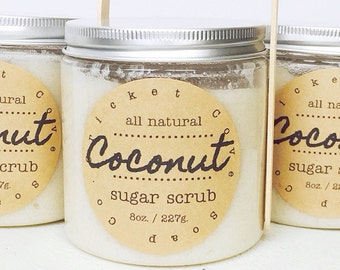 Coconut Sugar Scrub - natural body scrub - exfoliating - gift idea - 8 oz. - foot scrub - lip scrub - skin care