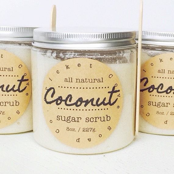 Coconut Sugar Scrub - natural body scrub - exfoliating - holiday gift idea - 8 oz. - lip scrub