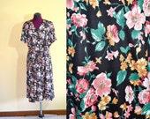 1970s Vintage Plus Size Faux Wrap Dress size XXXL bust 48