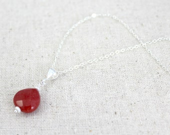 Crimson Red Dyed Jade Faceted Pendant Necklace / Sterling Silver Jewelry / Simple Silver Necklace / Gifts Under 30