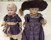 Set of Two Porcelain/China Girl and Boy Pair in Victorian clothing