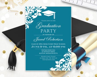 printable graduation party invitation template blue teal high school graduation announcement instant download college graduation invitation - College Graduation Invitation Templates