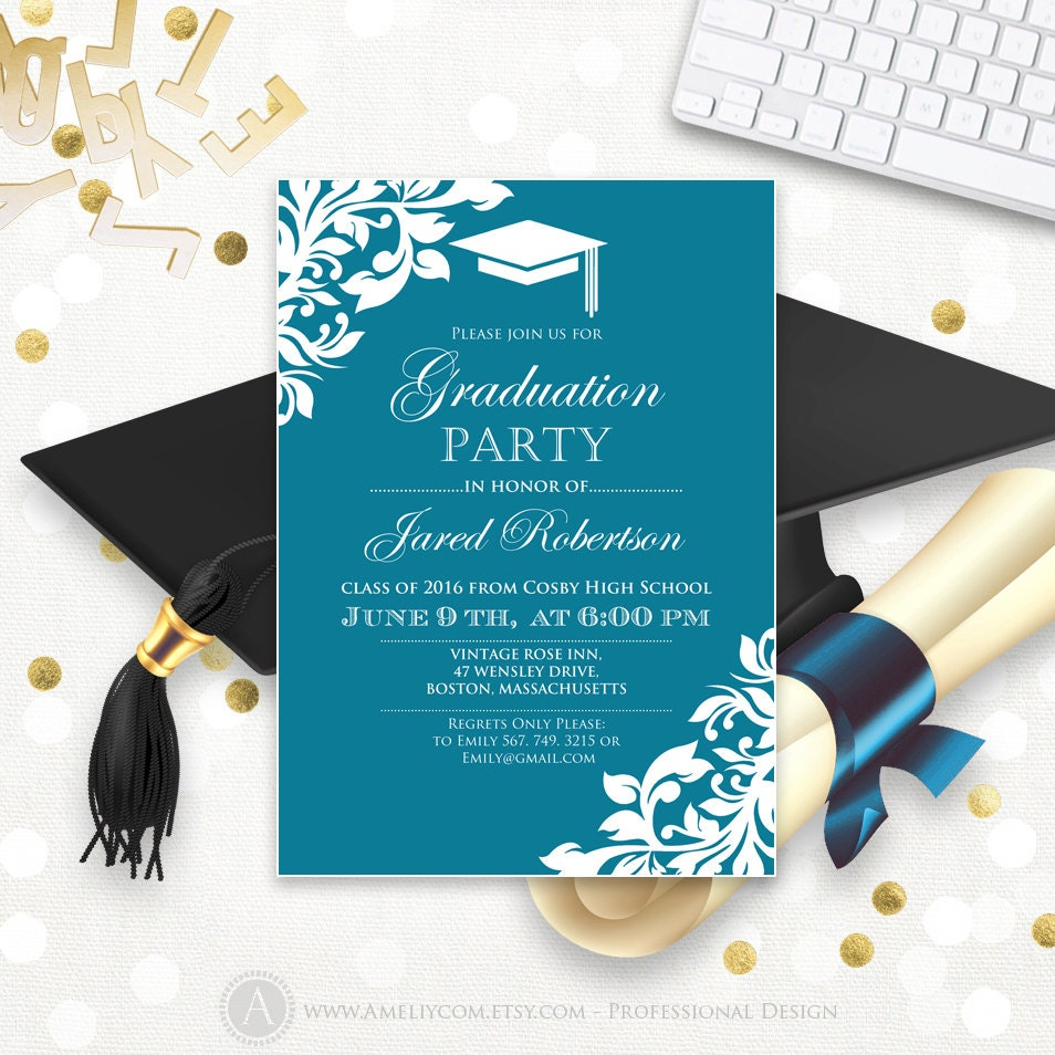 Printable graduation party invitation template blue teal high for Graduation party checklist template