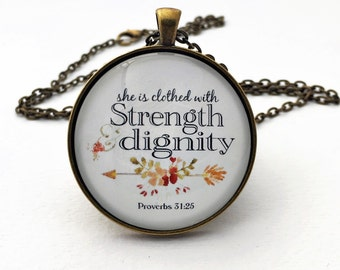 She is clothed with strength and dignity pendant bible verse necklace bronze silver pink red flowers jewelry proverbs 31 woman gift mom