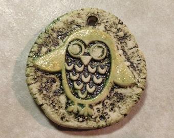 Hoot Owl ceramic pendant handmade rustic bohemian