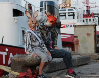 DIY Halloween masks, Make your own Rabbit mask from recycled paper, Fox mask from recycled paper, PDF masks