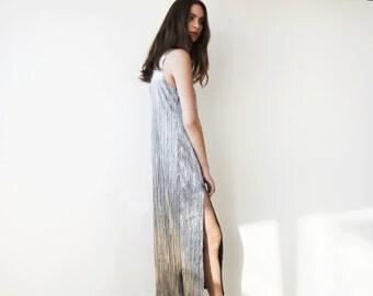 Metallic pleated maxi dress, Silver maxi sleeveless gown, Glamorous party dress