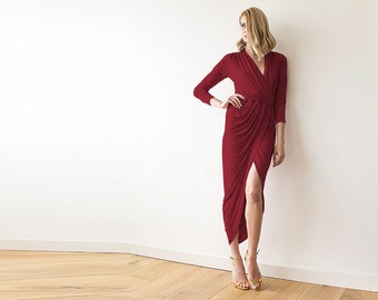 Bordeaux Formal maxi wrap dress with long sleeves , Wrap tulip Bordeaux gown