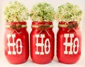 Mason Jars: HO HO HO Hand Painted Mason Jar Set