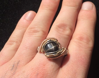 Star Diopside Wire Wrapped Ring Size 12