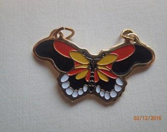 Vintage 1970's Cloisonne Butterfly Pendant/Yellow Orange and Black Monarch Type Pendant/ PJsBeadedEagle