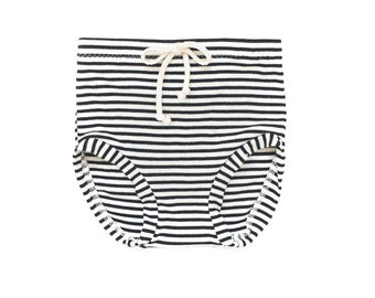 Black and White Stripe Hi Waisted Shorties. high waisted girls shorts, braided cotton trim.