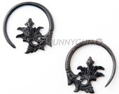 10G Pair Horn Maxa Flower Spiral Rings Body Piercing Jewelry Earrings 10 gauge