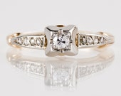 Antique 1920s 14K Yellow and White Gold Diamond Engagement Ring