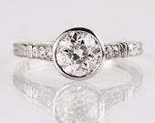Antique 1920s Platinum Diamond Engagement Ring
