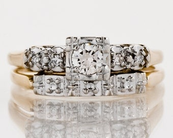 Vintage Wedding Set - Vintage 1940's Two-Tone Diamond Wedding Set