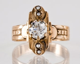 Antique Engagement Ring - Antique 14k Rose Gold Diamond and Seed Pearl Ring