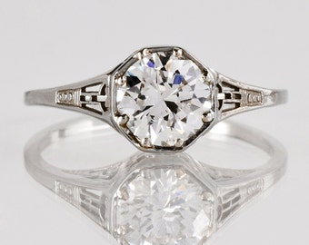 Antique Engagement Ring - Antique Diamond Filigree Engagement Ring - 18K White Gold