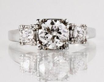 Antique Engagement Ring - Antique 1930s Platinum 3-Stone Diamond Engagement Ring