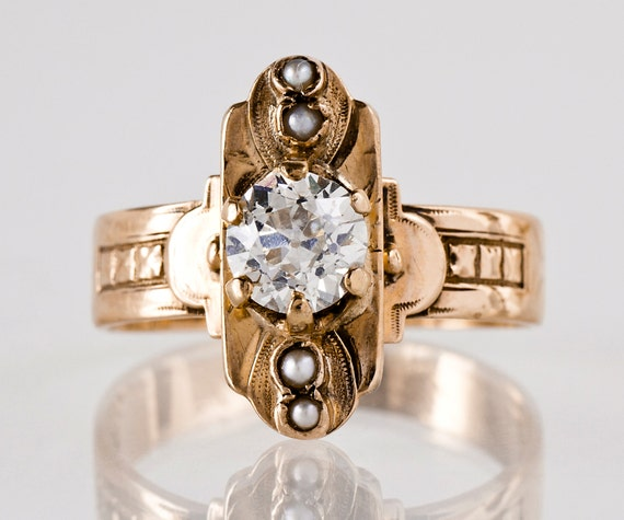 Antique Engagement Ring Antique 14k Rose Gold Diamond And