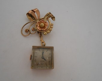 Antique Orvin decorated with Yellow and Rose Gold Pin Watch