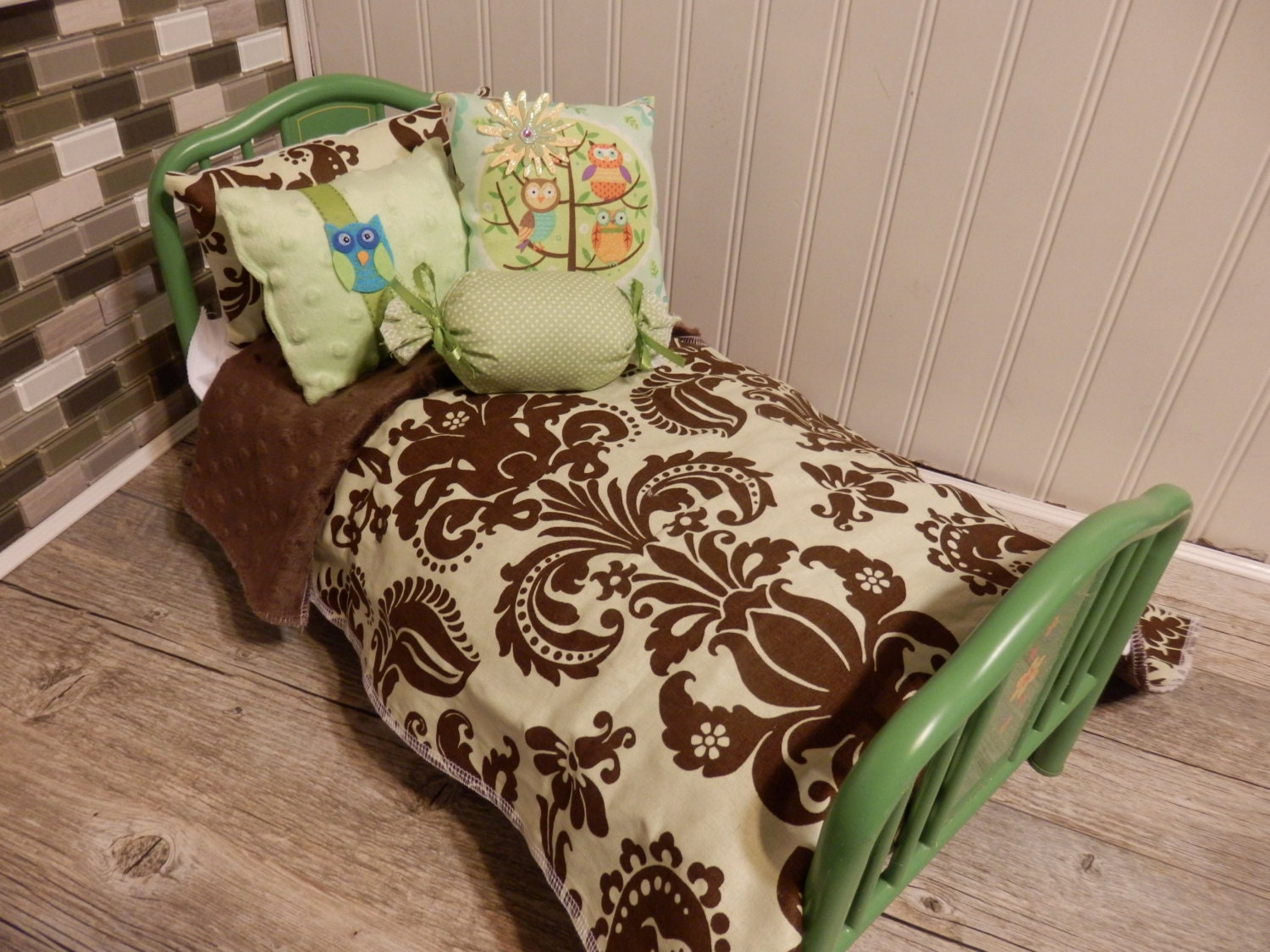 Green and brown damask comforter with by sweetdreamzzz01 - Green and brown comforter ...