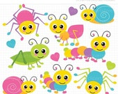 ON SALE - Crawling Bugs / Insects / Spider /Cricket / Grasshopper / Ant / Snail Clip Art / Digital Clipart - Instant Download
