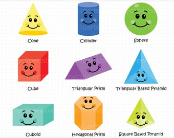Clipart - Fun With 3D Shapes - Educational / Teachers - Digital Clip Art (Instant Download)