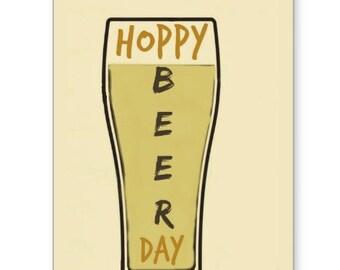 Hoppy Beer Day Card, Birthday Card, Beer Lovers Card, Happy Birthday, Friends Birthday, Card for Dad, Card for Sister, Brother Birthday Card