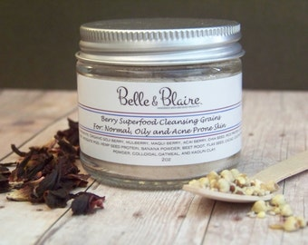Berry Superfood Cleansing Grains- Natural Facial Cleasnser- Vegan- Plant Based Organic Skin Care- 2oz