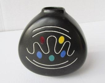 Vintage Eames Calder Googie Black Ceramic Vase