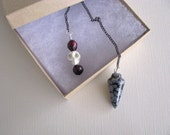 Chakra Pendulum, Snowflake Obsidian, Dowsing Pendulum, Pearls, Skull, Divining, Reiki, Yoga