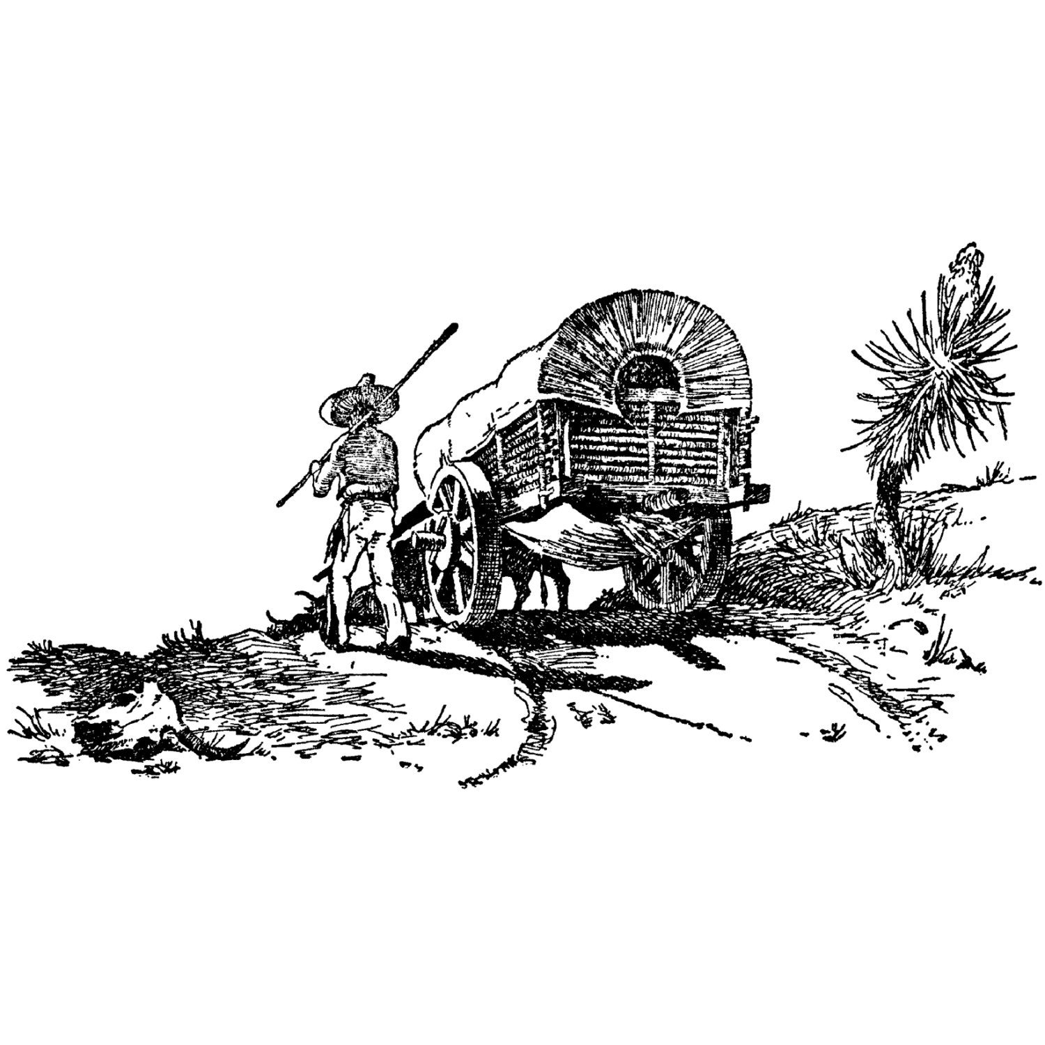 Wagon Train 648k Beeswax Rubber Stamps Unmounted Cling