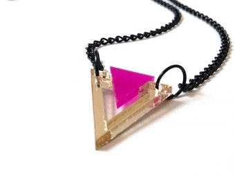 Geometric 80's Style Necklace, Triangle Necklace, Gold and Deep Pink Color