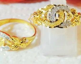 CHANEL INSPIRED 22K gold ring