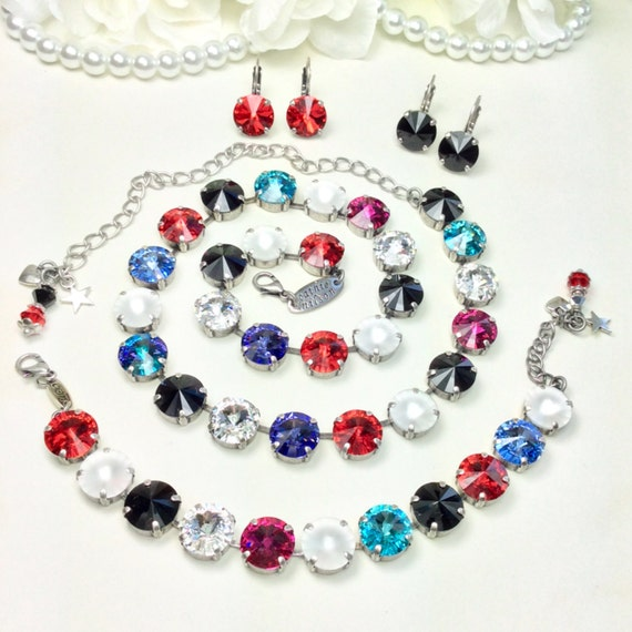 Swarovski Crystal 12MM Necklace - Designer Inspired - Brights with  Crystal Matte, Red and Jet Accents + Blue, Purple,  - FREE SHIPPING