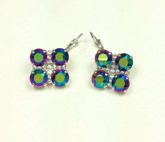 Swarovski Crystal 8.5mm Earrings -  Four Stone Lucky Clover Earrings with Crystal Accent- Scarabaeus Green FREE SHIPPING