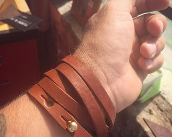 Leather and brass wrist wrap