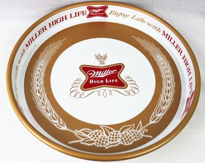 Vintage 1970s Miller High Life, Metal Beer Tray, Barware