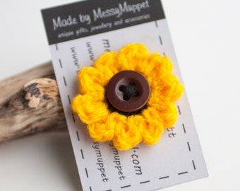 Sunflower Crochet Flower Brooch with vintage brown button middle